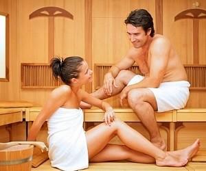 Секс на спине в бане